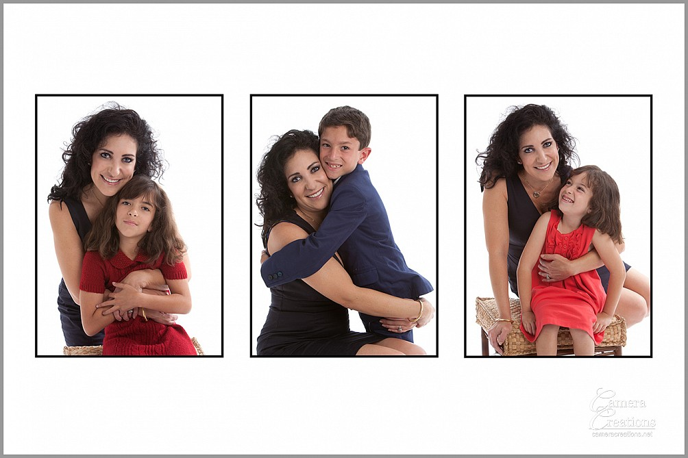Family portrait photography session at Camera Creations LLC studio in Los Angeles. Triptych of mother with son and two daughters.