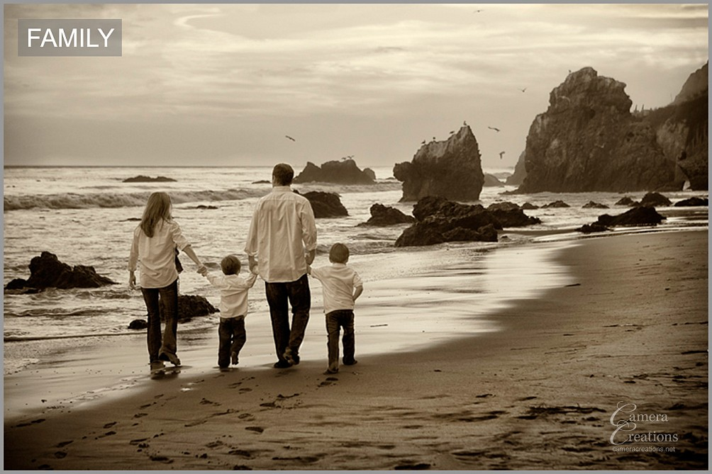 Location family portrait at El Matador State Beach, CA.