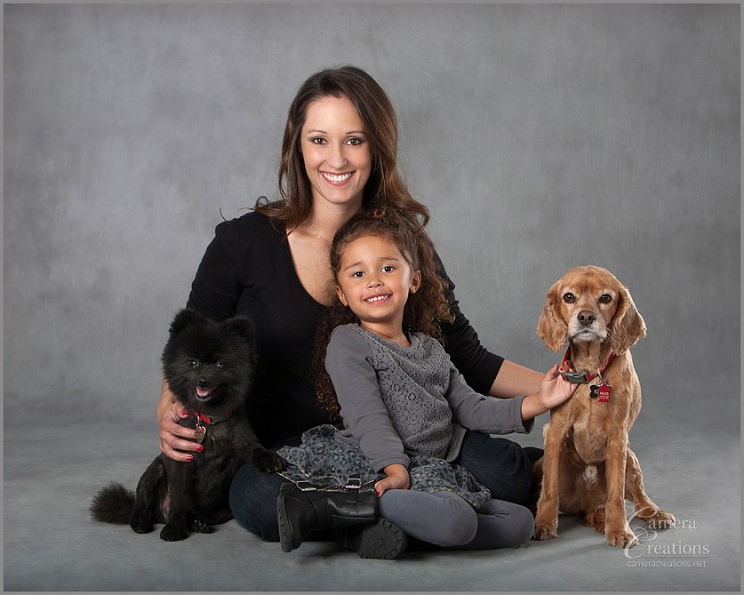 Family portrait photography with mom, daughter and dogs at Camera Creations LLC studio in Los Angeles.