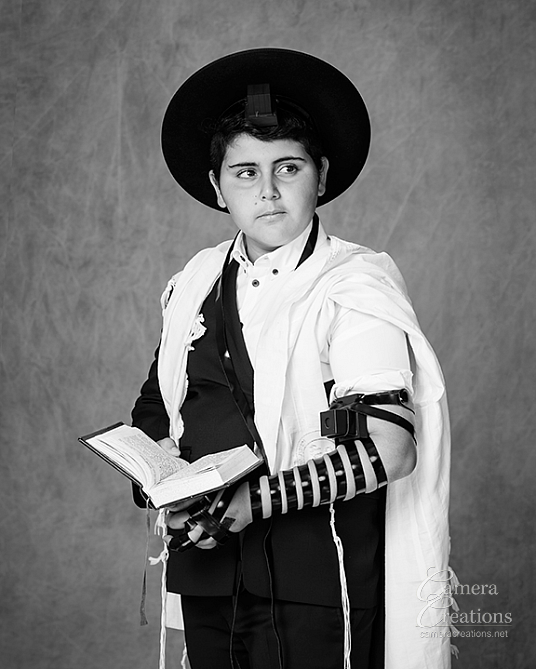 The Bar Mitzvah at his family portrait session at Camera Creation LLC, Los Angeles. Portrait photography in Los Angeles.