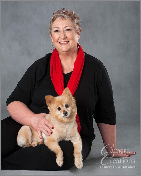 Family portrait photography mom with dog at Camera Creations LLC studio in Los Angeles.