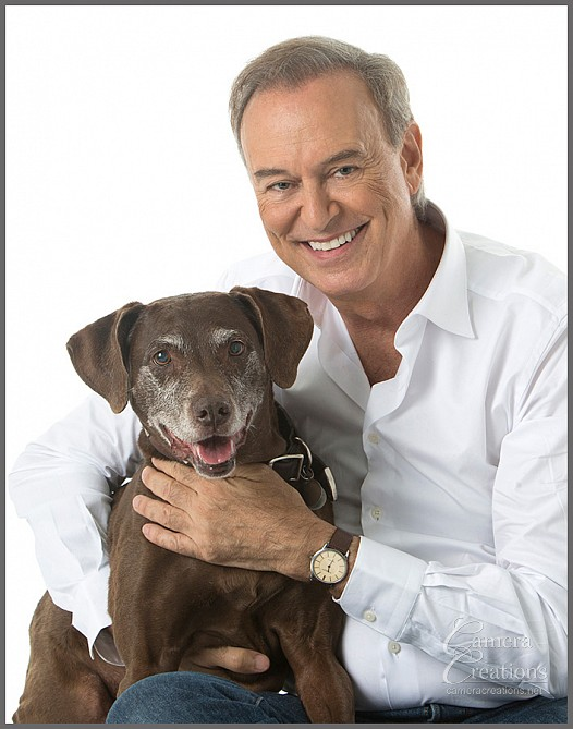 Dog and his owner at Camera Creations portrait studio in Los Angeles. #dogportrait #petportrait #dogandhishuman