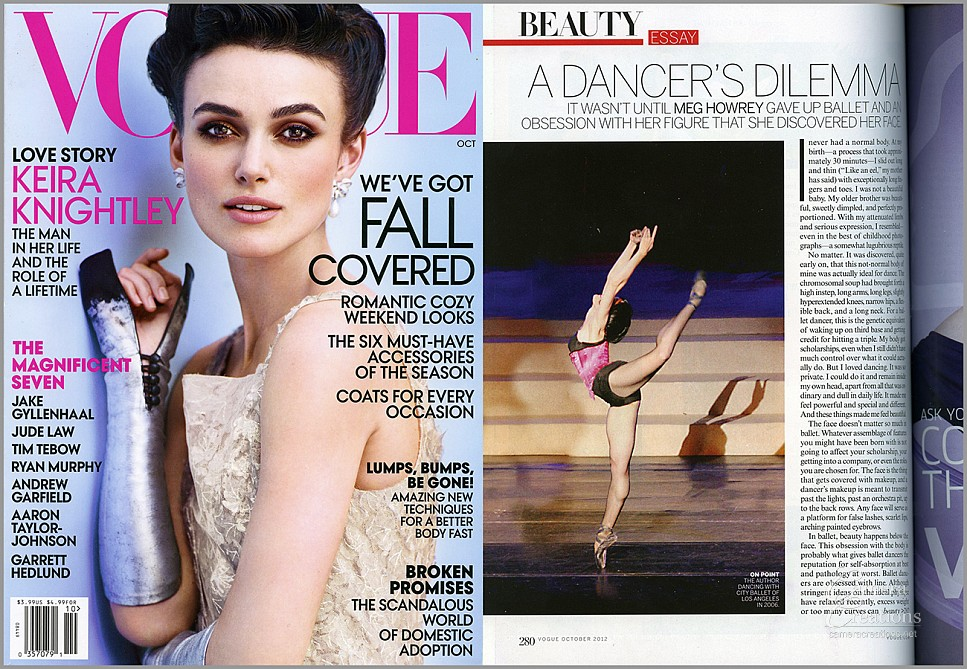 Dance photography image in Vogue Magazine October 2012 issue by Julie Hopkins of Camera Creations LLC in Los Angeles.