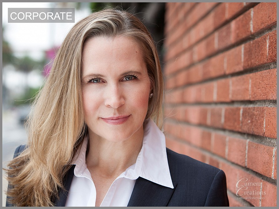Corporate business headshot session outdoors near Camera Creations LLC.