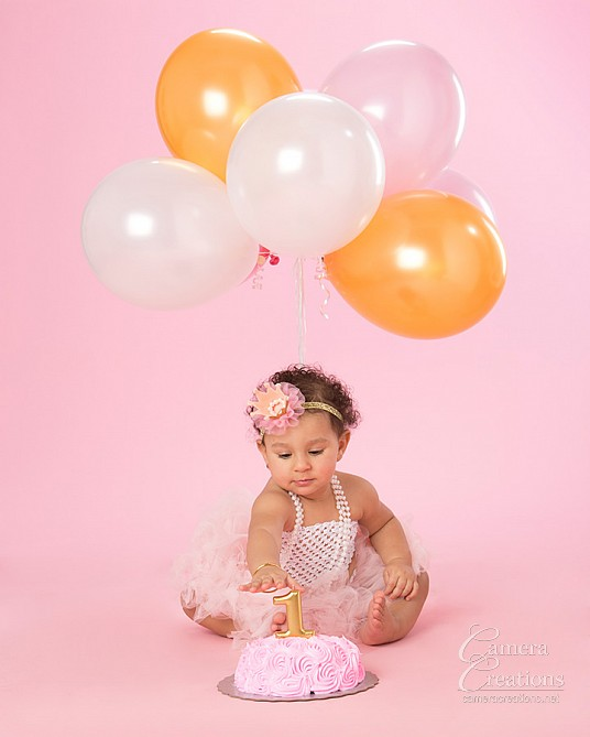 Sophie's first birthday baby portrait session at Camera Creations photo studio. #smashthecake, #firstbirthday #babyportrait