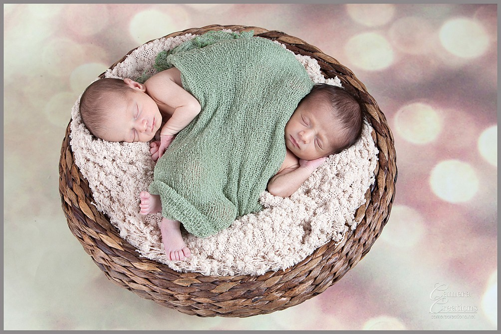 Newborn photography session of twin brothers at Camera Creations LLC in Los Angeles.
