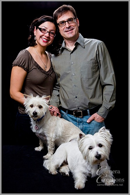 Family portrait photography session with two dogs at Camera Creations LLC studio in Los Angeles,