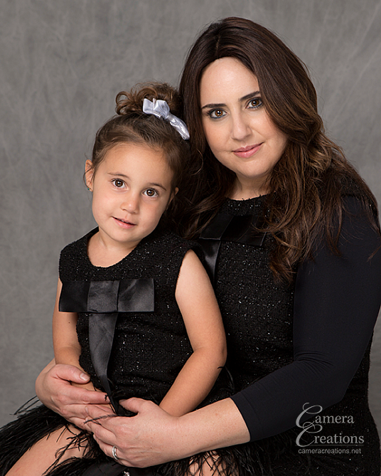 Mother and daughter at family portrait session at Camera Creations Photography portrait studio in Los Angeles.