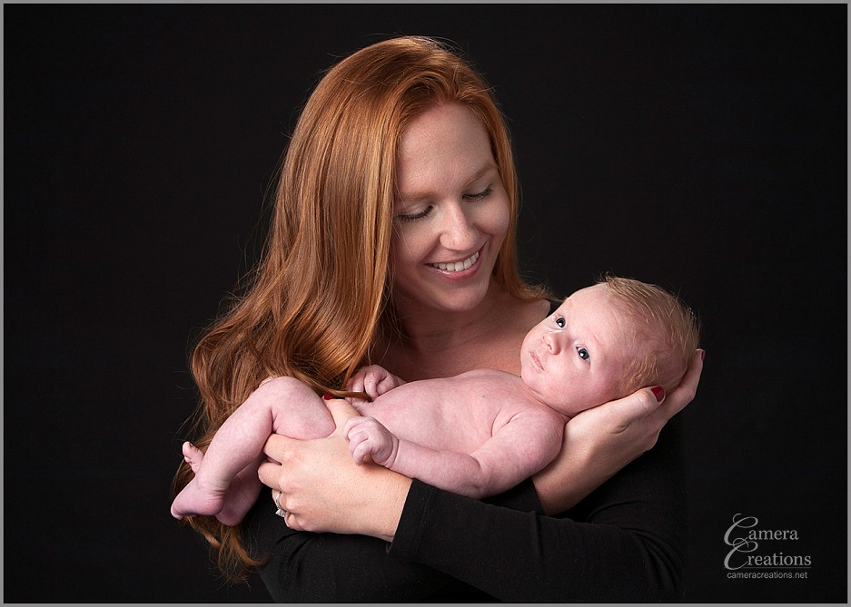 Family portrait photography with newborn baby and mom at Camera Creations LLC studio in Los Angeles.