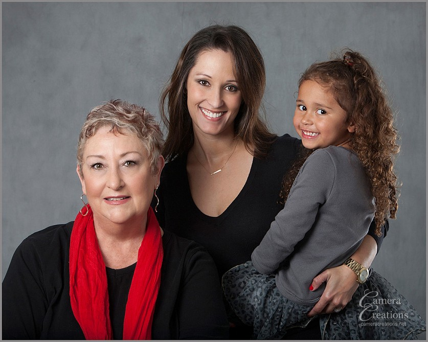 Family portrait photography with three generations of ladies at Camera Creations LLC studio in Los Angeles.