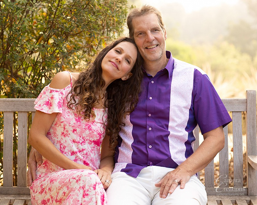 Outdoor portrait of mom and dad at family portrait session in Palos Verdes, CA.