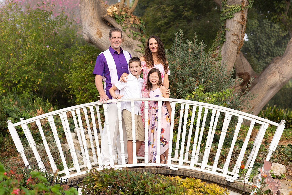 Outdoor family portrait session of mom, dad and two children at Palos Verdes, CA.